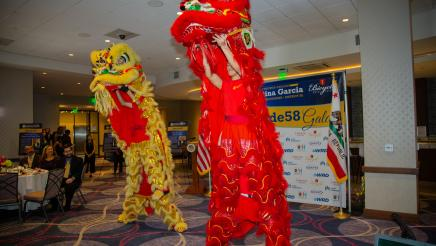 Chinese dragons dancing